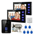 "Infrared Night Version 7"" Screen Video Intercom Door Phone System 2 Monitors + RFID Access Camera + Electric Control Door Lock"