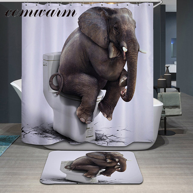 Comwarm Funny Animals Elephant Pattern Polyester Shower Curtain Glasses Dog Bear Shark Panda Printed Waterpoof Bath