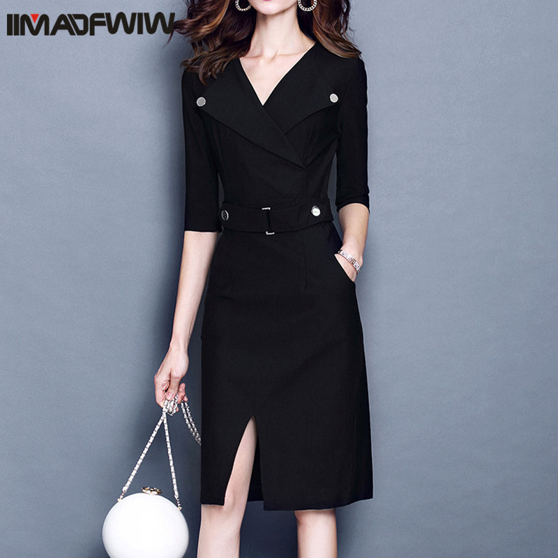 2017 Autumn European Women Dress Temperament Turn down Collar Half Sleeve Knee length Solid Dresses Female Plus Size S 3XL