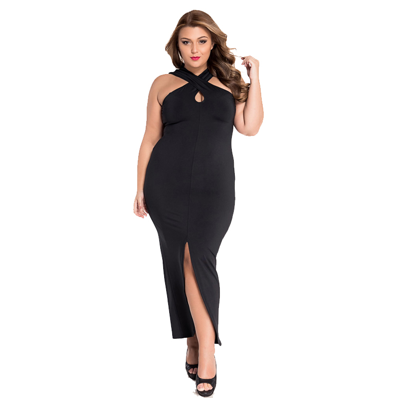 HD wallpapers plus size long black dress with split