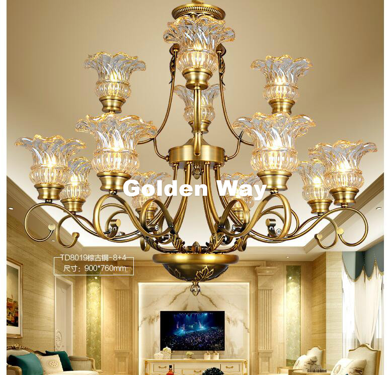 Antique Brass European-style Crystal Chandelier Lamp Living Room Lamp Bedroom Lamp Restaurant Lamp Zinc Alloy Crystal Chandelier luxurious crystal pendant lamp the european style living room lamps and lanterns creative bedroom crystal chandelier