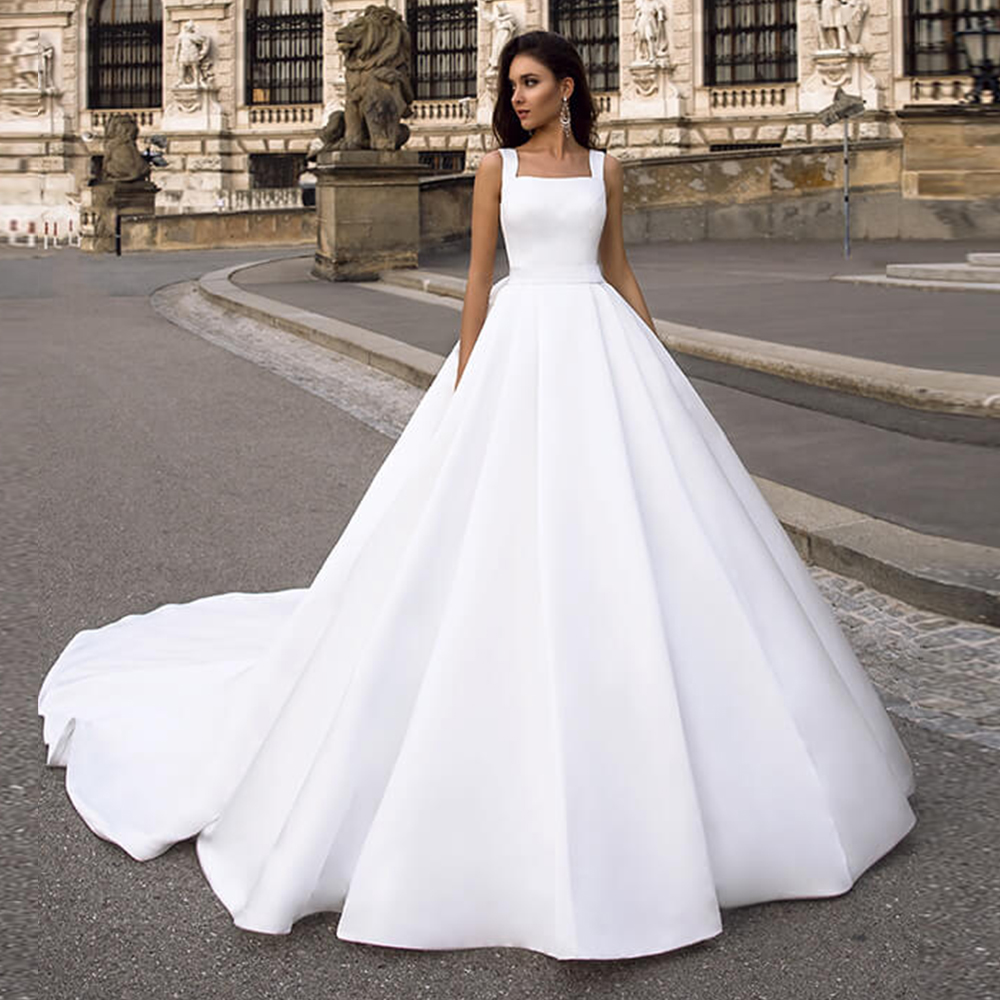 Vestido de Noiva Off Shoulder Plus Size Ball Gown Wedding Dress 2019 White Satin Simple Robe