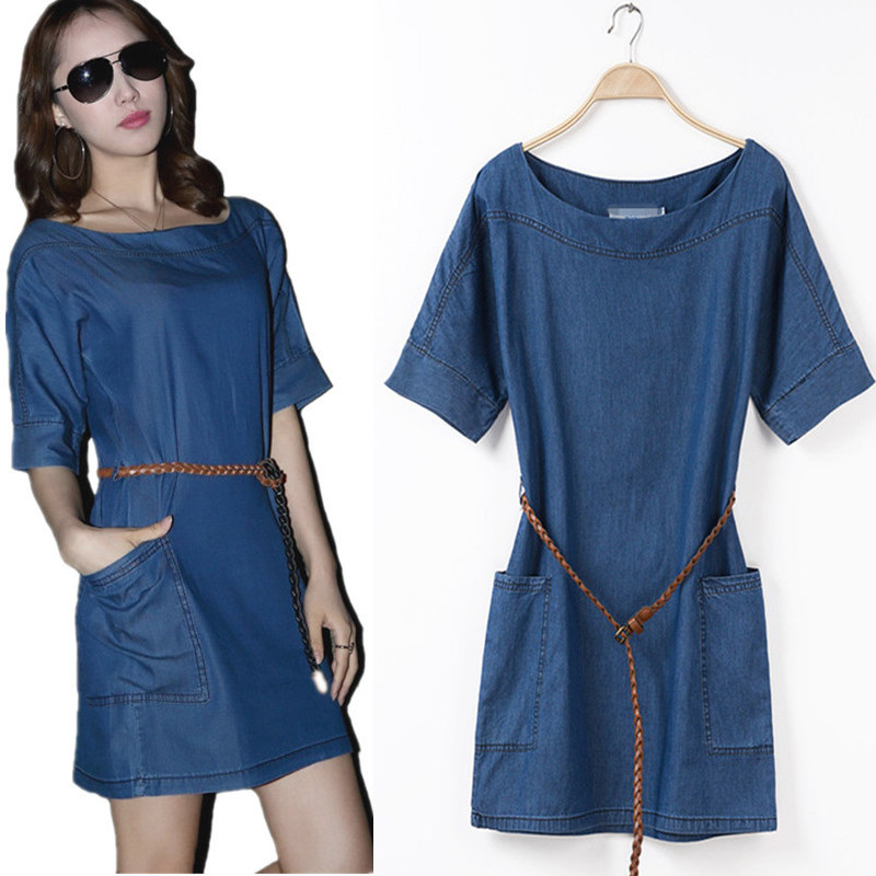 2017 Summer Short Sleeve Denim Dress Plus Size Loose Casual One Piece Dress Women Denim Dress