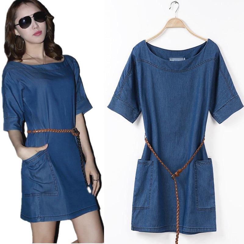2017 Summer Short Sleeve Denim Dress Plus Size Loose Casual One