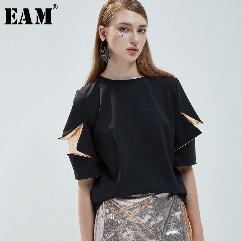 [EAM] 2018 New Summer Round Neck Short Sleeve Black Knitting Split Joint Loose Three-dimensional T-shirt Women Fashion JG355 black blue split joint denim round neck short sleeve oversized men s t shirt