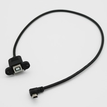 1 шт. черный USB 2,0 B Женский панельный кронштейн для Mini 5 Pin Мужской прямоугольный удлинитель принтер адаптер сканера кабель 50 см
