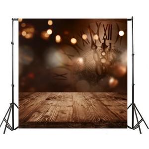 Image 4 - Laeacco לשנה טובה המפלגה Photophone שעון אור Bokeh עץ רצפת צילום תפאורות תינוק יילוד רקע צילום נכס