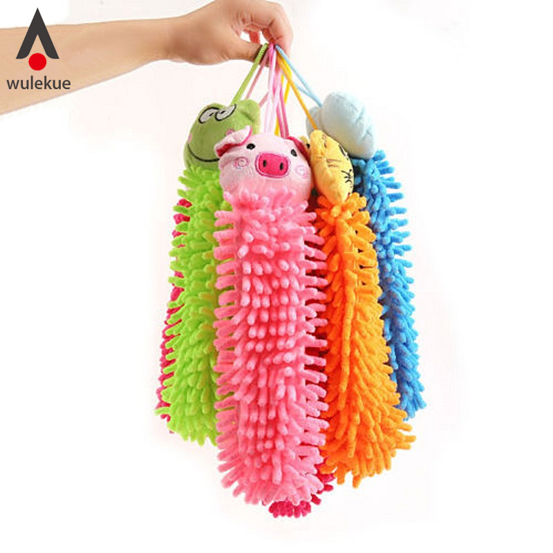 1pcs microfiber cute animal shape hand dry wash drying towel clearing absorbent cartoon kitchen