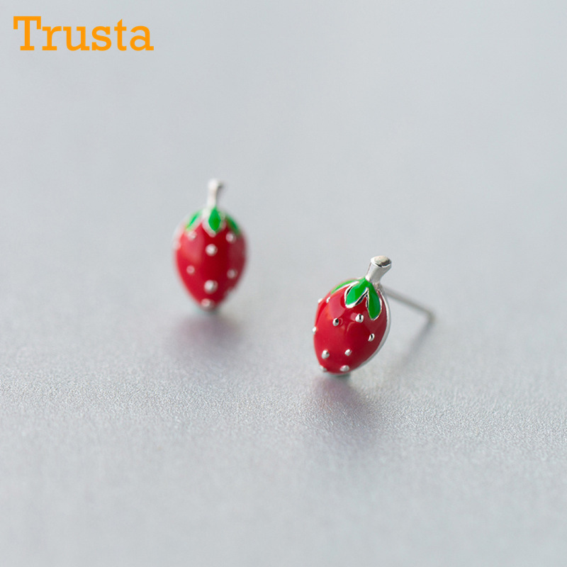 Trusta 100% 925 Sterling Silver Earring Fashion Cute Tiny Sweet Little Strawberry Stud Earrings Gift For Girls Kids Lady DS92