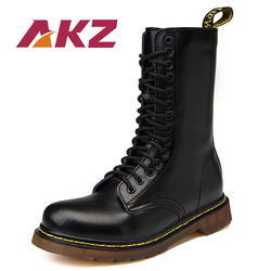 AKZ Mixed color Unisex Mid calf Boots New Fashion Autumn Winter warm Men Martin Boots High Quality Split leather Male High Boots