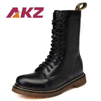 AKZ color mezclado Unisex Mediados de becerro botas nueva moda Otoño Invierno Hombres Calientes Martin botas de alta calidad Split de cuero botas altas
