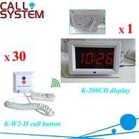 Sistema de paginação chamada de enfermagem sem fio  1 receptor de exibição com 30 sino para cama chamando puxe a corda para chamar