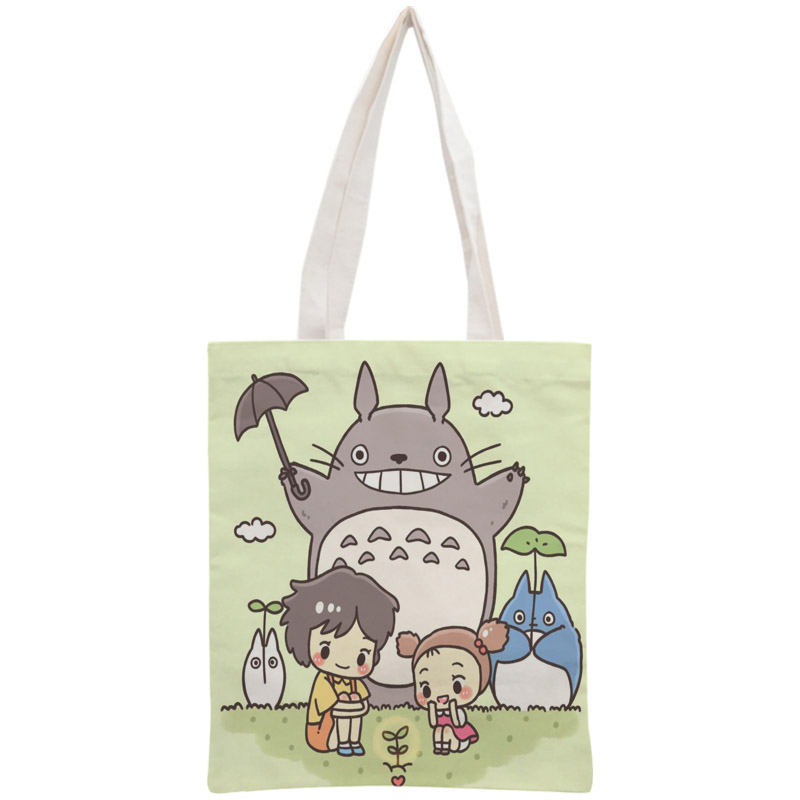 Custom Totoro Tote Bag Reusable Handbag Shoulder Pouch Foldable Cotton Canvas Shopping Bags Customize Your Image