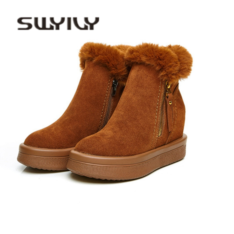 SWYIVY Woman Boots Platform Velvet Warm Winter Casual Shoes High Top 2018 Snow Boots Rabbit Fur Wedge Zipper Leather Snow Boots 11cm heels 2013 new winter high platform soled high heeled snow boots female side zipper rabbit fur thick heels snow shoes h1852