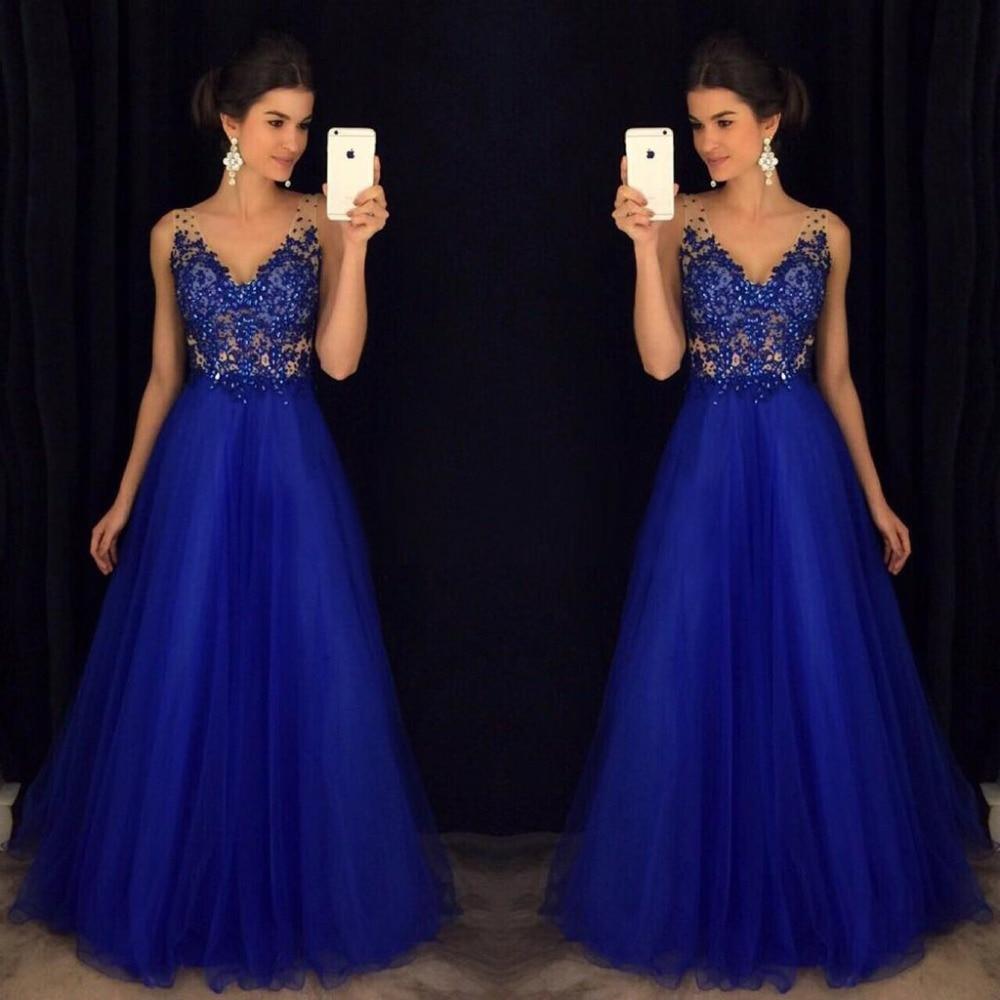 Royal Blue Beaded   Prom     Dresses   Long 2019 vestidos de fiesta largos elegantes de gala V Neck A Line Formal Evening Party Gowns