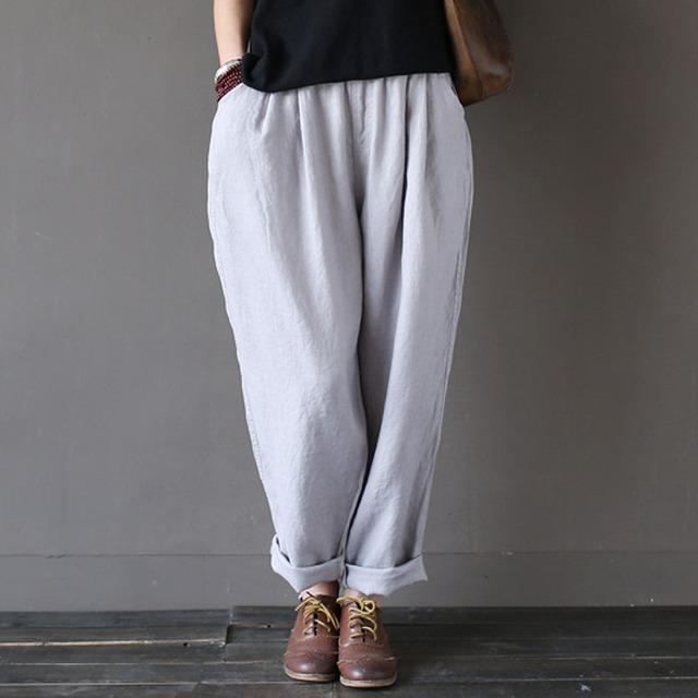 2016 Harem Pantalones de Las Señoras Pantalones Casuales Pantalones Pantalones de Lino de Color Sólido Elástico en La Cintura Completa Pantalones de Chándal Mujeres