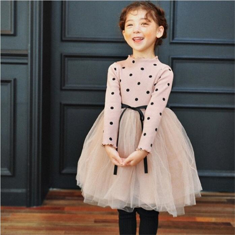Girls Dress 2018 New Bow Mesh Casual Girls Dress Children Clothing Ball Gown Dot Print Kids Clothes Girls Dresses Princess Dress