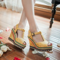 Womens Buckle Peep Toe Snake Pattern Rainbow Colors Wedge Ankle Strap High Heels Sandals Shoes Chic Summer Plus Size A740
