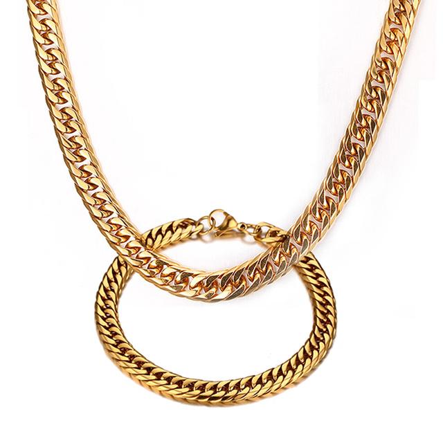 Vnox colar + pulseira conjuntos de jóias de alta qualidade banhado a ouro correntes de aço inoxidável para homens