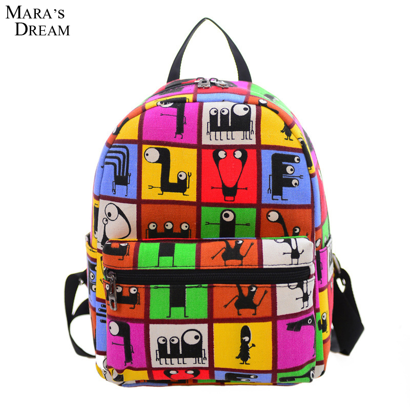 Mara's Dream 2017 New Woman Backpack Canvas School Bag Printing Lightweight School Backpacks Fashion Women's Mini Bags