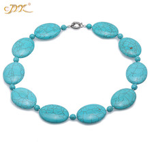 JYX 2019 Elegant Green Turquoise Necklace 30x40mm Oval Flat Shape for Women 21 summer accessories