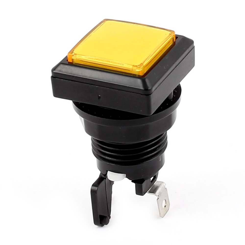 SPST 2 Terminal Square Cap Momentary Push Button Switch 33mm x 33mm x 60mm with Yellow Light Lamp for Gaming Machine
