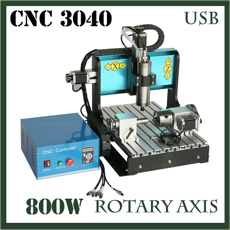 JFT CNC Woodworking 3040 800W USB 2.0 Port 4 Axis Router for Aluminum Spindle Motor Engraver Machine Precision Ball Screw russia tax free cnc woodworking carving machine 4 axis cnc router 3040 z s with limit switch 1500w spindle for aluminum