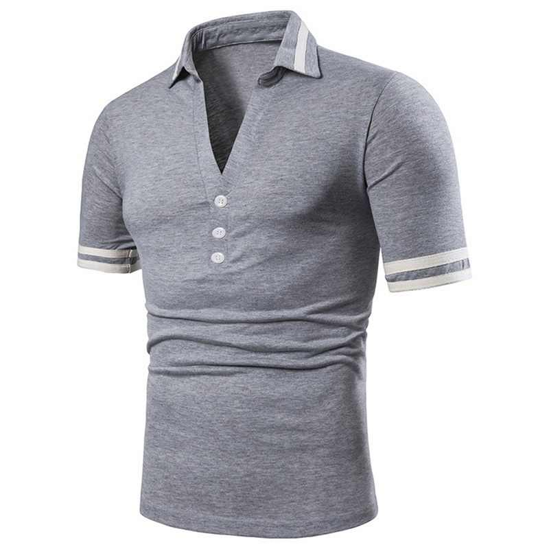 Oeak 2019 Men Fashion Polo shirt Turn Down Design Sexy Deep V neck Polo Shirt Solid Color Button Men Summer Short Sleeve Tops