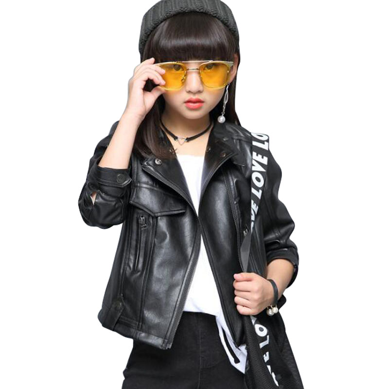 Girls Pu Leather Jacket 2019 Spring Autumn Jackets For Girls Clothes