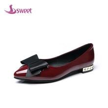 Сладкий бренд Женская обувь на плоской подошве Весна/осень основные без застежки из искусственной кожи Острый носок, бабочка-узел LeisureB10 (3)