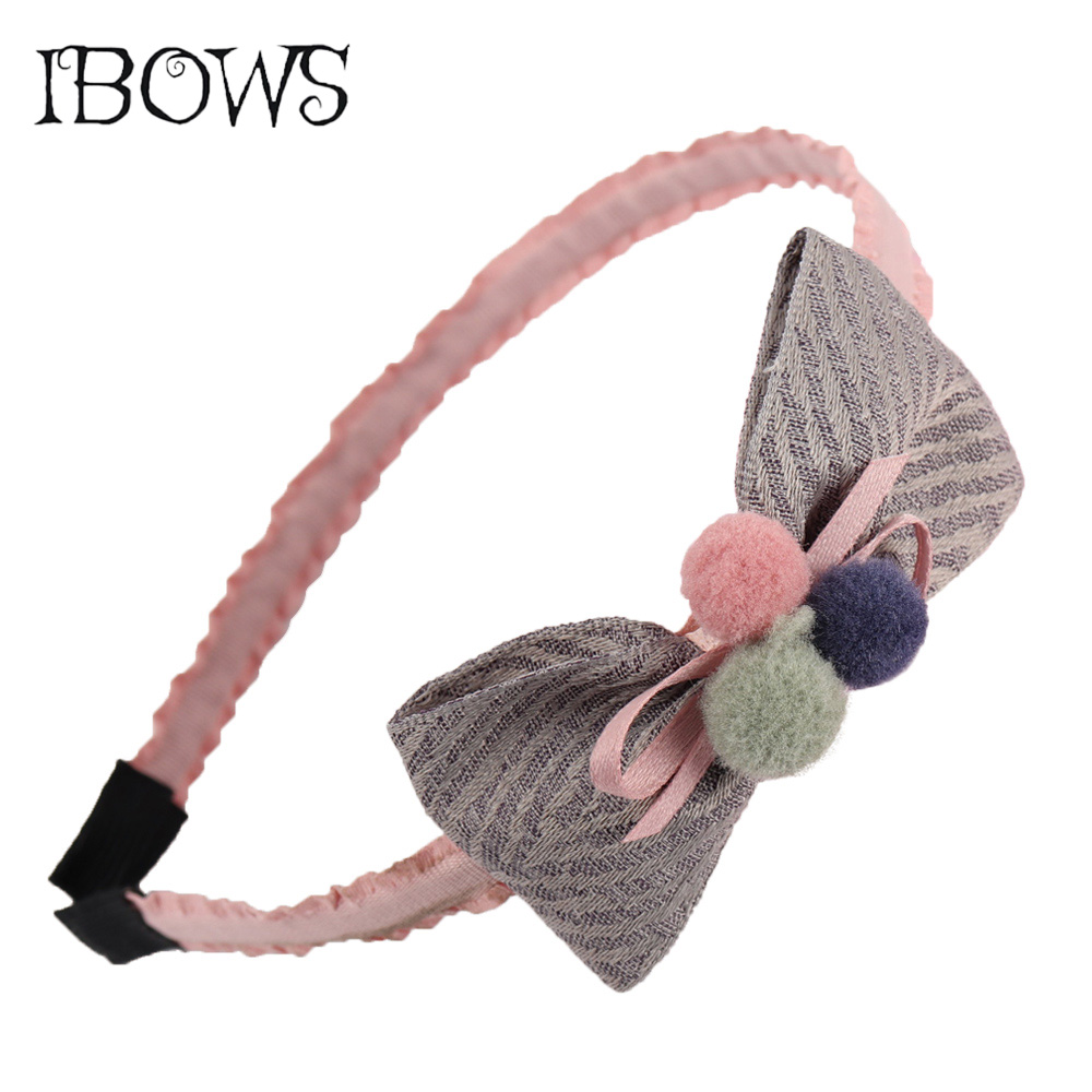 Korean Cute Pompom Hairband Striped Bows Princess Hairhoop For Kids Girls Boutique   Headwear   Hair Accessories