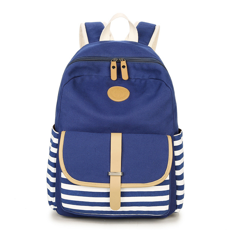 Ecoparty Preppy School Bag for Teenagers Girl Backpack Canvas Printing Laptop Travel Bag Women Backbag Striped