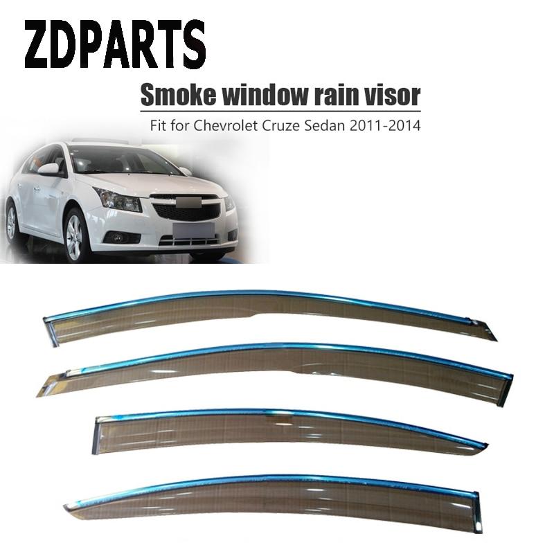ZDPARTS 4pcs Car Wind Deflector Sun Guard Rain Wind Vent Visor Cover Trim For Chevy cruze