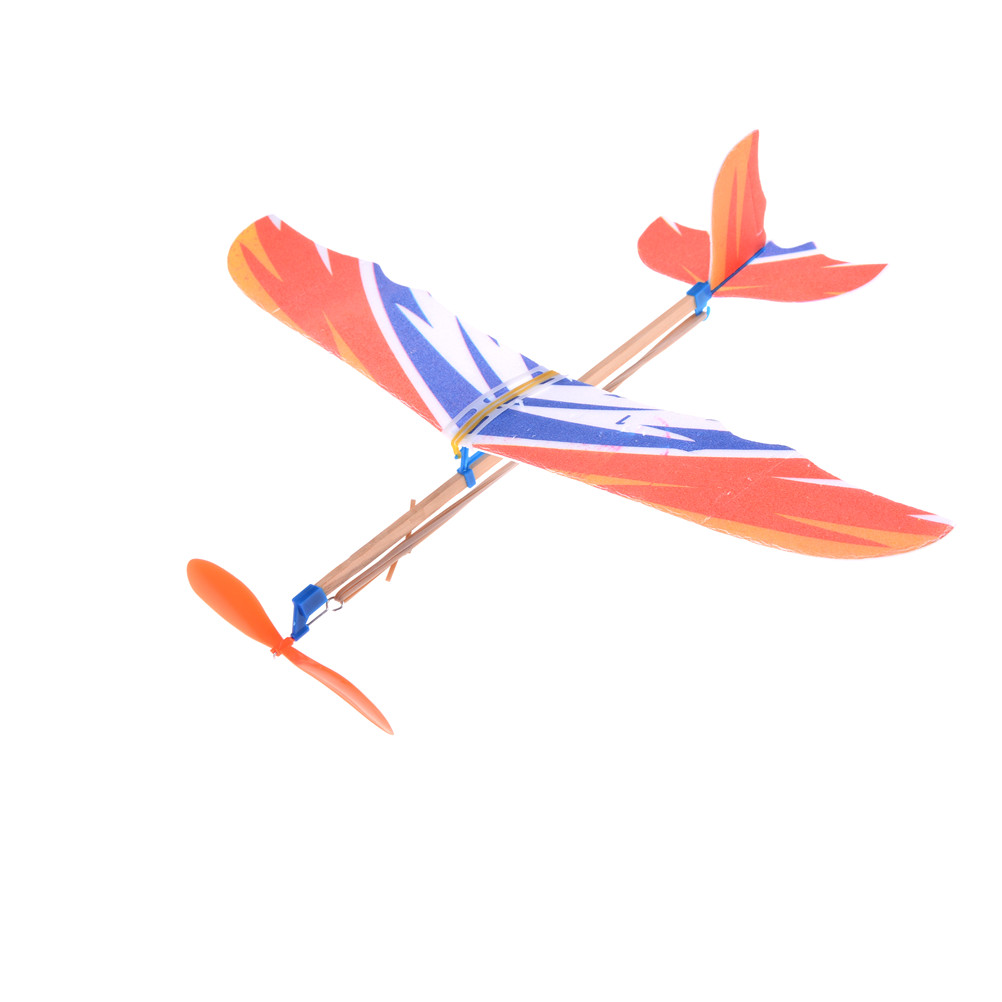 1 X DIY Plastic Rubber Powered Plane Airplane Model Set Foam Elastic Flying Plane Kit Aircraft Model Educational Toy Gift