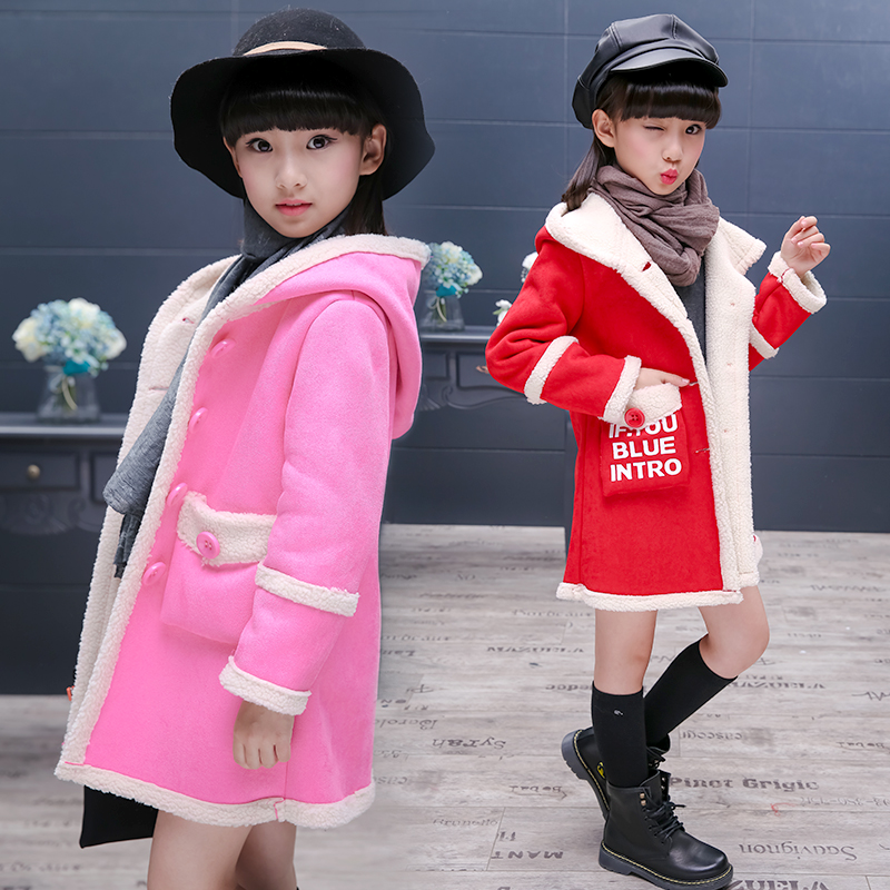 Hooded Girls Coat Autumn Winter Warm Kids Jacket Outerwear Children Clothing Baby Tops Girl Coats Girl's Outfits Jacket B436 winter baby girl coats kids warm long thick hooded jacket for girls 2017 casual toddler girls clothes children outerwear