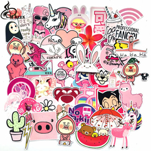50pcs/pack PVC Waterproof Pink Girls Fun Sticker Toys The Luggage Stickers For Moto Car & Suitcase Cool Fashion Laptop stickers
