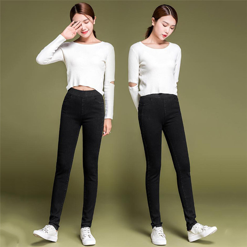 Jeans Women Light Blue Plus Size Elastic High Waist Jeans 19 New  Spring Summer Korean Chic Pants Slim Long Jeans Feminina CX719