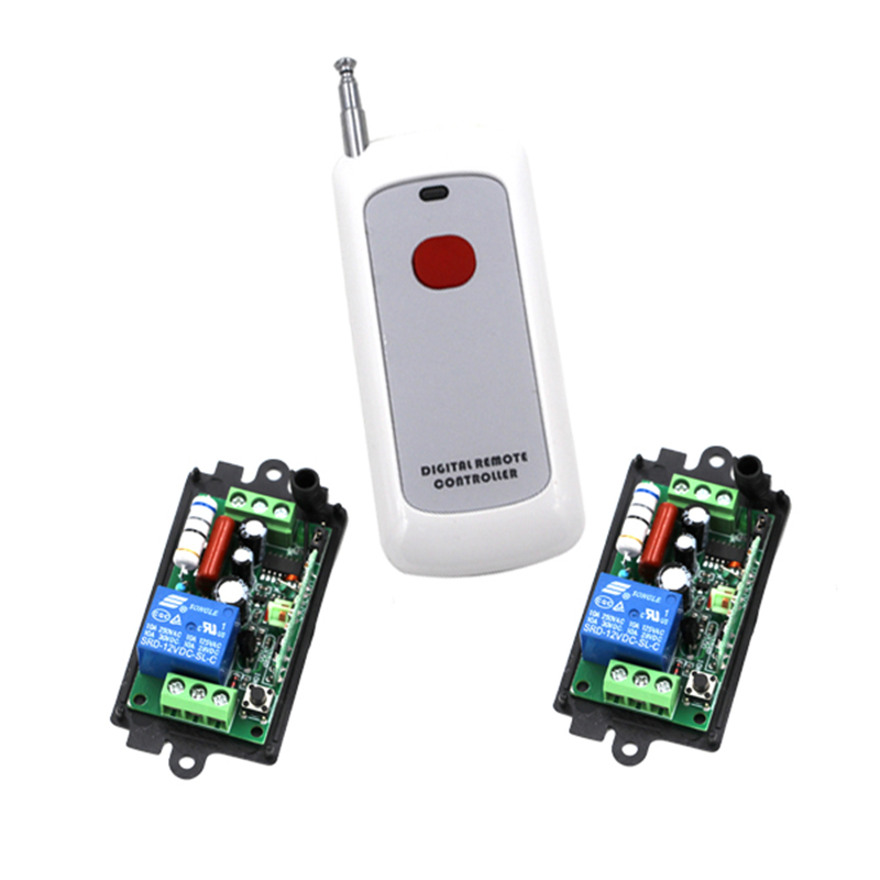 Smart control electrical curtain wireless remote control switch 1x1 button transmitter and 2x220V 110V 1CH switch 4050 electrical power control toggle button switch red silver 5 piece pack