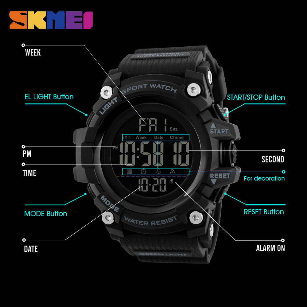 SKMEI Mænd Outdoor Sports Watch Countdown 2Time Alarm Fashion - Mænds ure - Foto 6