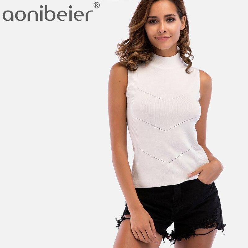 Aonibeier אביב קיץ ללא שרוולים נשים מעורב לסרוג חולצות אופנה גבוהה צוואר לסרוג Jumper טנק חולצות Slim Fit גבירותיי מקרית חולצות