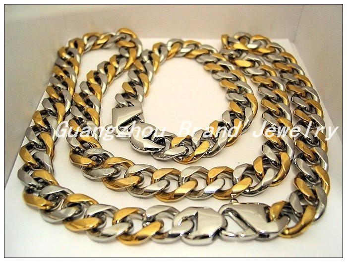 New Fashion 15mm Width 316L Stainless Steel Silver Gold Classic Chain Neklaces 60cm&Bracelets 22cm For Men Boy Jewelry Set