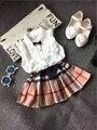 Varejo-2016 Verão chiffon sem mangas T-shirt + saia Xadrez Set para 2-7 anos da menina da criança