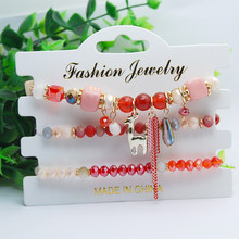 3 Pcs/Set Christmas Bracelets Bangles For Women Boho Crystal Beads Nature Stone Bracelet With Deer Wristband Femme Jewelry Gifts(China)