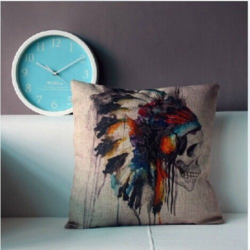 Bon New Native American Indian Skull Headdress Cushion Cover Vintage Home Decor  Linen Cotton Throw Pillow Case