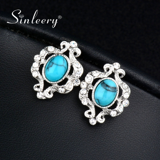 Sinleery Vintage Turkish Natural Stone Stud Earrings For Women Ethnic Jewelry Boucle D Oreille Femme