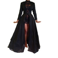 2017 New High Quality Sexy Gothic Lace High Waist Sheer Jacket Long Dress Gown Party Costume Lady Autumn Dress Black