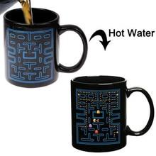 2016 neue Ankunft Pac-Man Spiel Keramische Kaffeetasse Tee Milch Heiß Kalt Wärmeempfindlichen Becher Tasse Farbe-ändern Pixel Tassen Geschenk