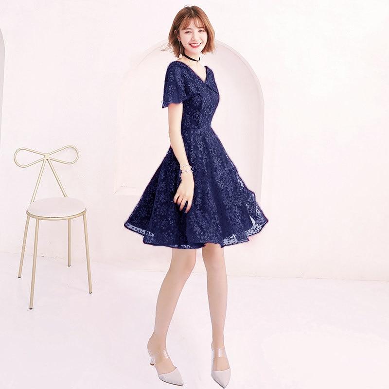 Blue Cocktail Dresses Elegant Lace Black sliver Flowers Party Dress V-neck Short Sleev A-line Zipper Back Formal Party Gown E371