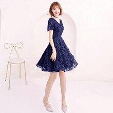a2b09f3c35 Azul vestidos de cóctel elegante vestido de encaje negro plata flores  fiesta vestido con cuello en V de manga corta vestido de c.