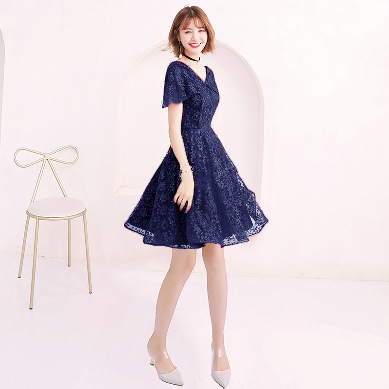 Blue   Cocktail     Dresses   Elegant Lace Black sliver Flowers Party   Dress   V-neck Short Sleev A-line Zipper Back Formal Party Gown E371
